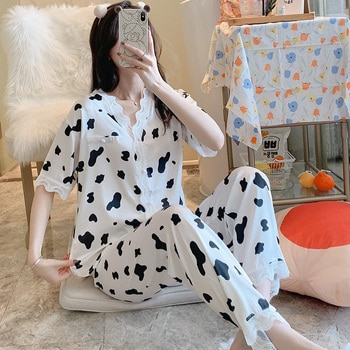 Cow Pajamas Women's Summer Short Sleeve Trousers Thin Ice Suit Cardigan Lace Artificial Silk Home Wear Spring and Autumn