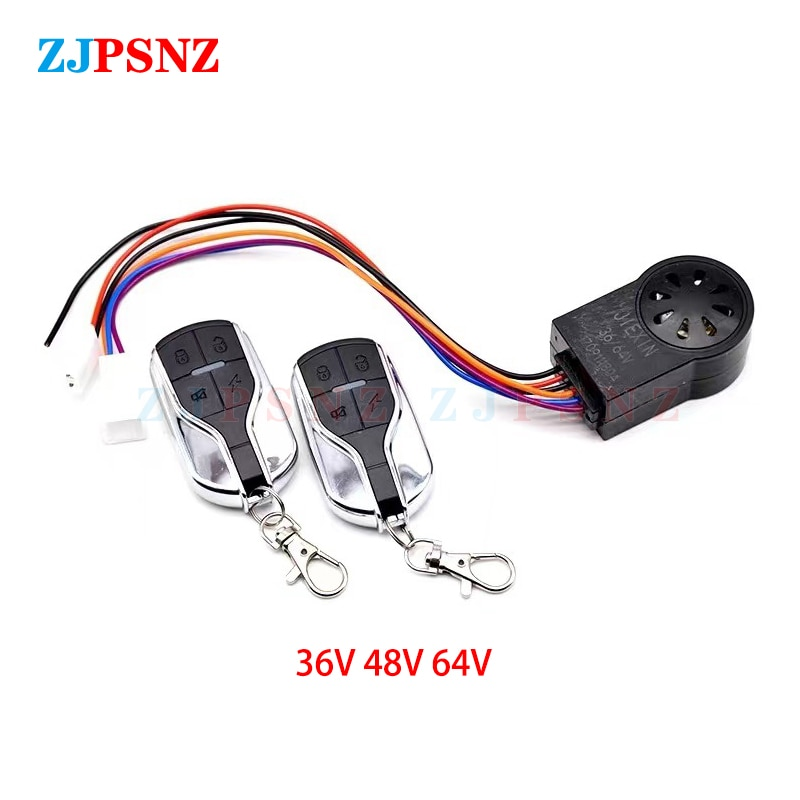 Universal 24V 36V 48V 60V 72V Ebike Alarm System Controller With Two Switches For Electric Bicycle Scooter Motorcycle Tricycle