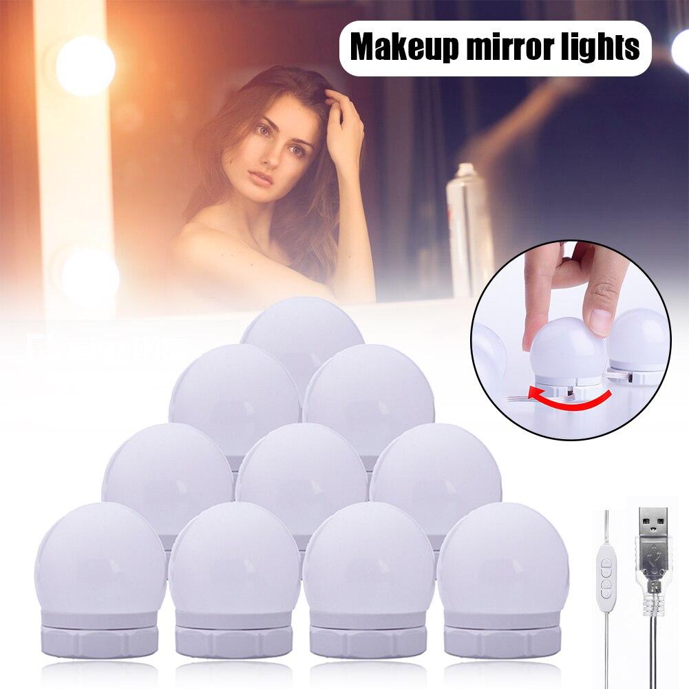 Maquillaje espejo luces 10 LED Kit bombillas Hollywood vanidad luz regulable lámparas para tocador DTT88