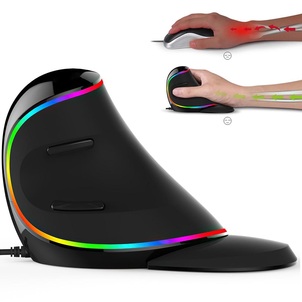 2021New مريح عمودي ماوس السلكية اليمين اليسار اليد الكمبيوتر الألعاب الفئران USB ماوس بصري ألعاب فأرة للحاسوب النقال الكمبيوتر المحمول