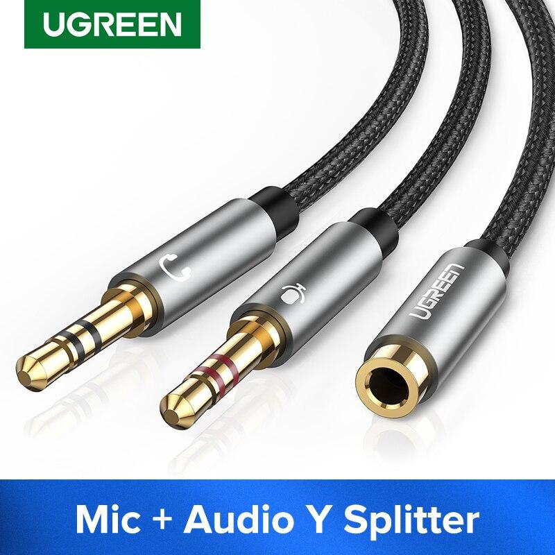 UGREEN-Divisor de auriculares para ordenador, 3,5mm, hembra a 2 Dual, 3,5mm, macho,...