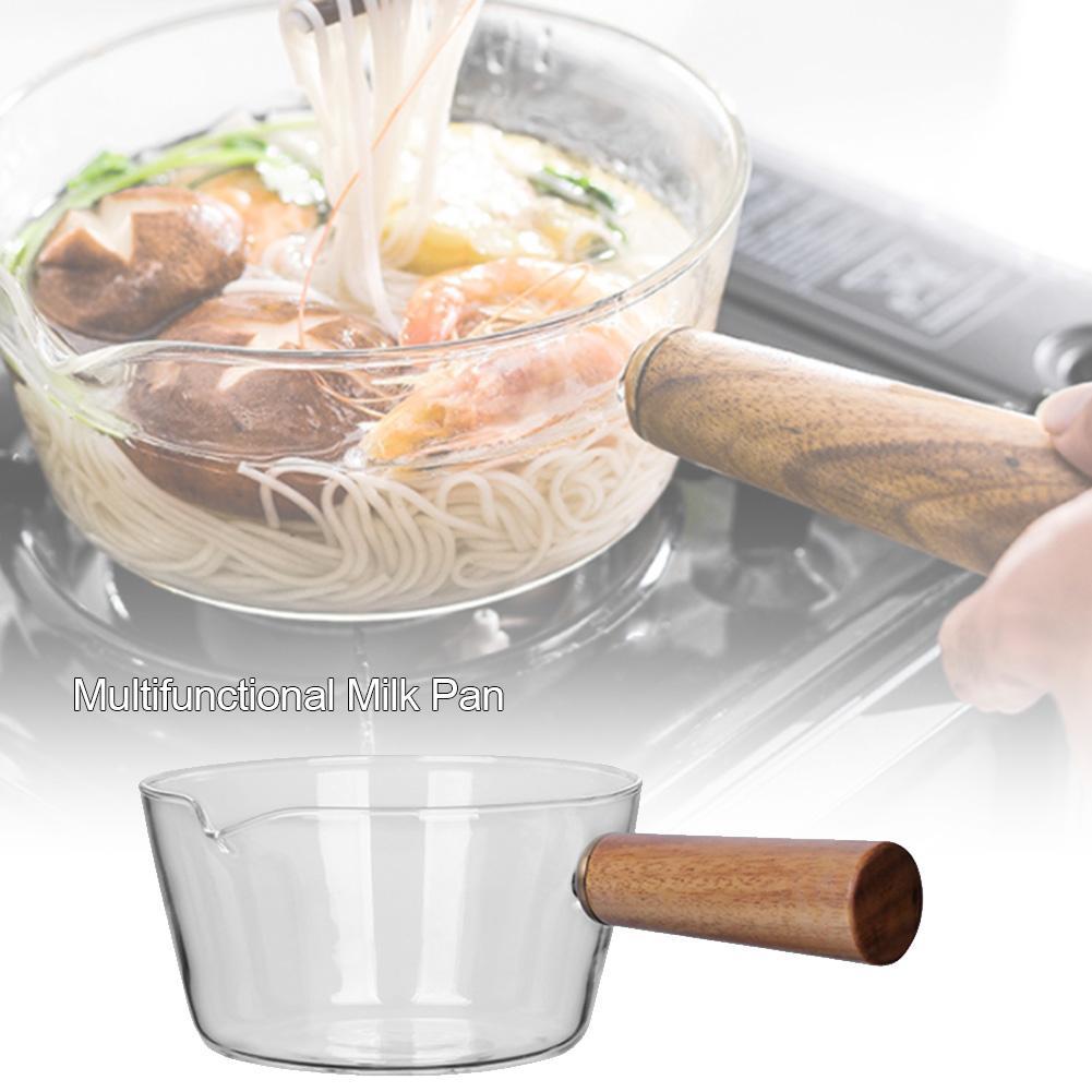 1pcs Glass Milk Pot Home Baby Food Special Open Fire With Pot Hot Milk Noodle Pot Transparent Fruit Salad Bowl Cooking Pot