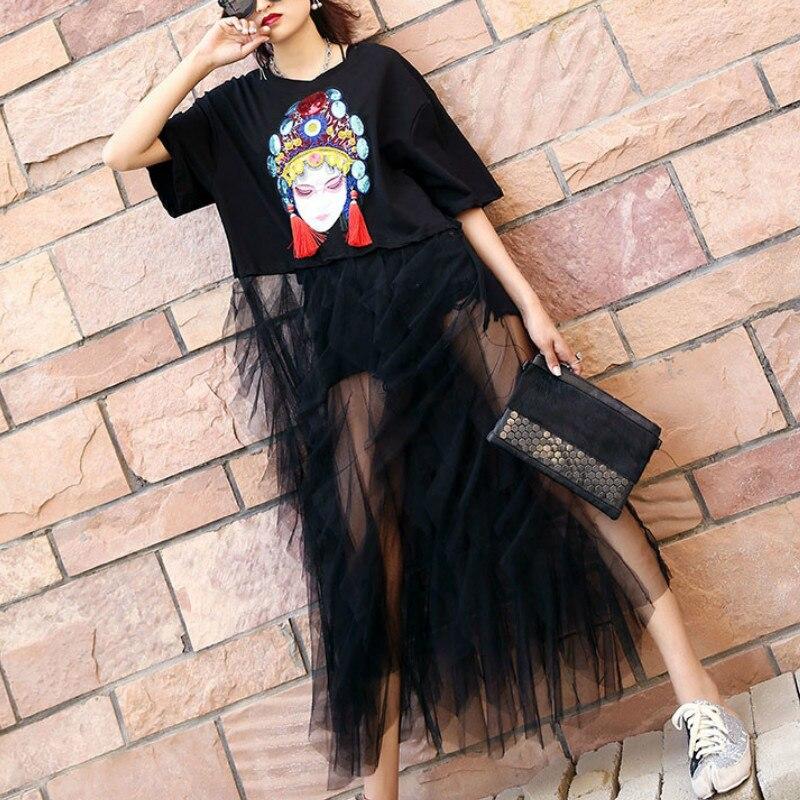 فستان صيفي مطرز بنمط كرتوني ، بدلة نسائية أنيقة مع ترتر شبكي ، مقاس كبير ، LT296S50 ، 2020