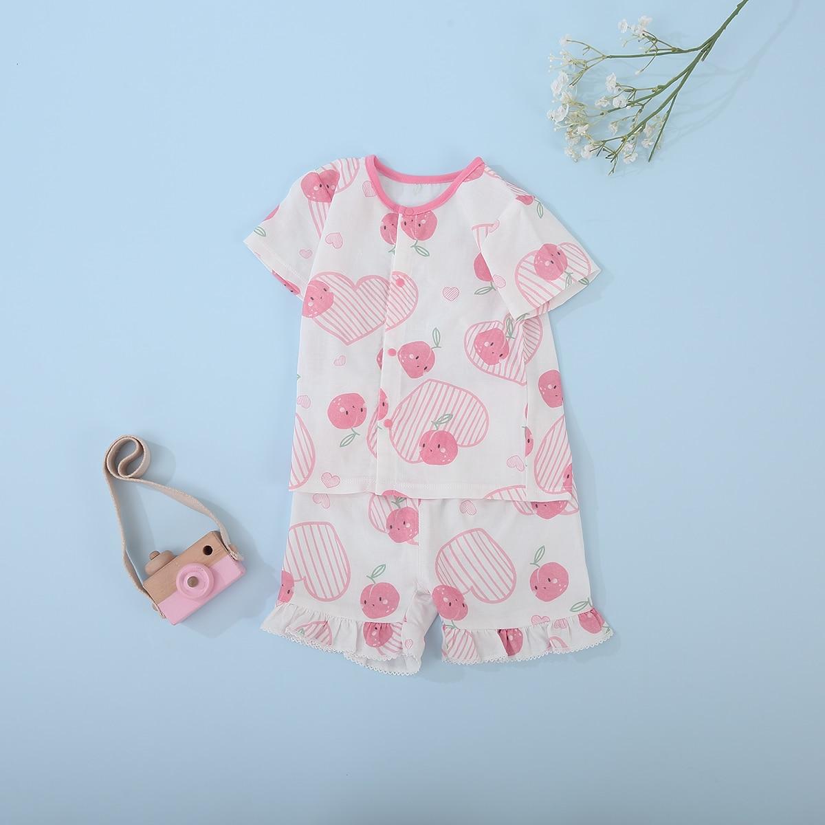 Новинка 2021, комплекты детской летней одежды для мальчиков и девочек, Милая футболка с коротким рукавом и Y-образным вырезом и шорты с героями...