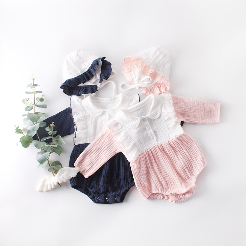 Spring and Autumn  Girls Baby Baby Cotton Triangle Jumpsuit Romper  Newborn Baby  Toddler Romper wit