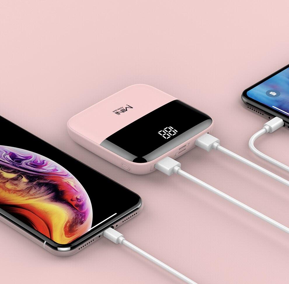 20000mAh Spiegel Bildschirm Tragbare Power Bank 3 Eingang Doppel Ausgang Mini Power Für iPhone Android Smart Handy Poverbank