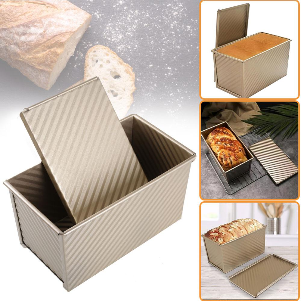 1 Uds molde para pan tostado azulejo de Metal ondulado corrugado antiadherente con cubierta caja tostada pan molde ecológico utensilios de horneado para repostería