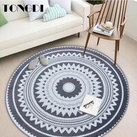 tongdi boho round carpet mat printing soft elegant absorbent anti slip rug luxury decor for home parlour living room bedroom