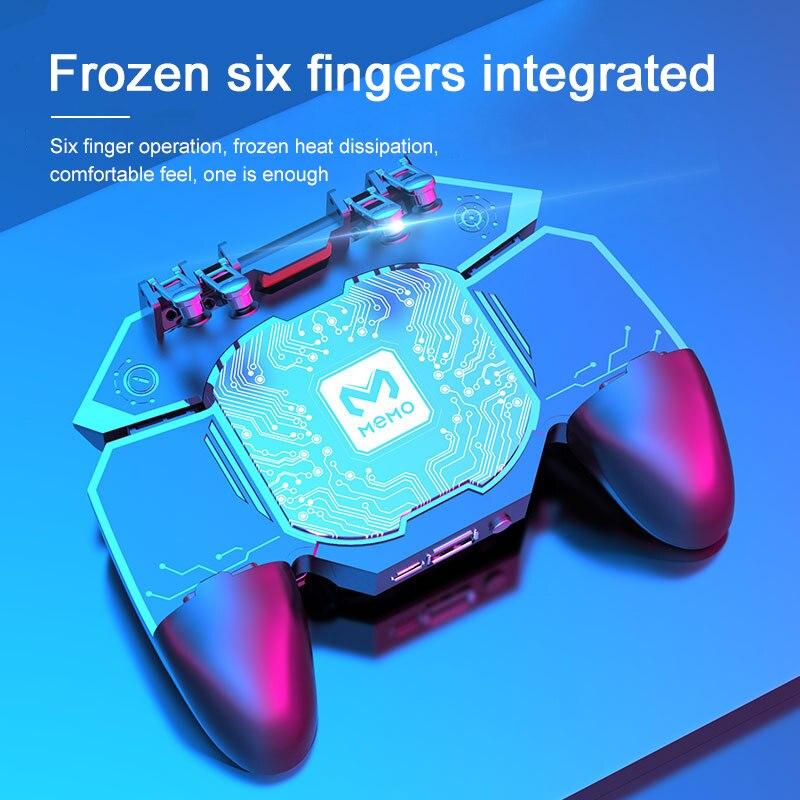O fã do radiador do gamepad do telefone móvel do manche de seis dedos do controlador do jogo dl88 para a operação sensível do pubg é simples