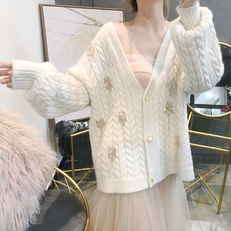 Wheat Spike Knitted Women Cardigan 2019 Autumn Winter V Neck Single Breasted Loose Thick Sweater Coat Female Knitting Cardigan