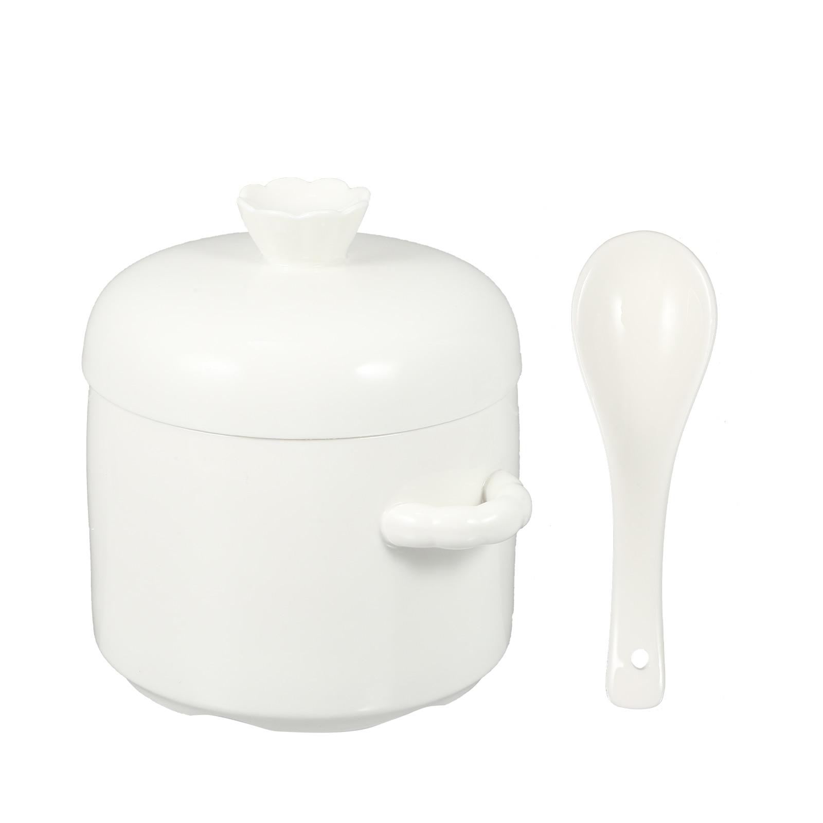 1 قطعة وعاء الطبخ رائعة المنزلية السيراميك الحساء وعاء الحساء وعاء مع غطاء (أبيض)