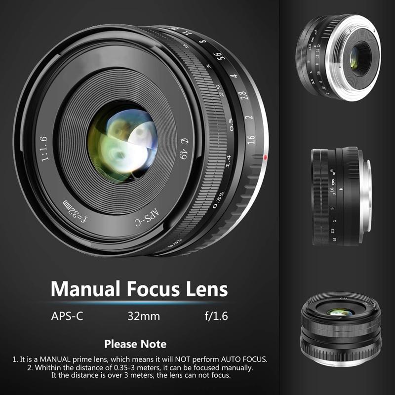 Venta al por menor 32mm F1.6 lente fija Manual de gran apertura APS-C para Sony e-mount Digital Mirrorless cámaras NEX 3 NEX 3N NEX 5 NEX