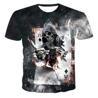 summer 3d horror death art print skull mens t shirt fashion round neck oversized t shirt casual short sleeved street