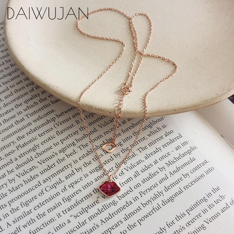 Daiwujan 925 sterling sliver sexy tentação lábios vermelhos corrente colares para mulheres meninas rosa zircão pingente colar jóias presente
