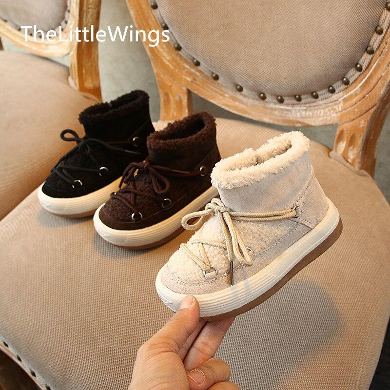 Invierno 2019, zapatos de algodón para niños, cuero genuino, lana de cordero para niños, botas de nieve cálidas y antideslizantes para niñas de 1-2-3-8 años