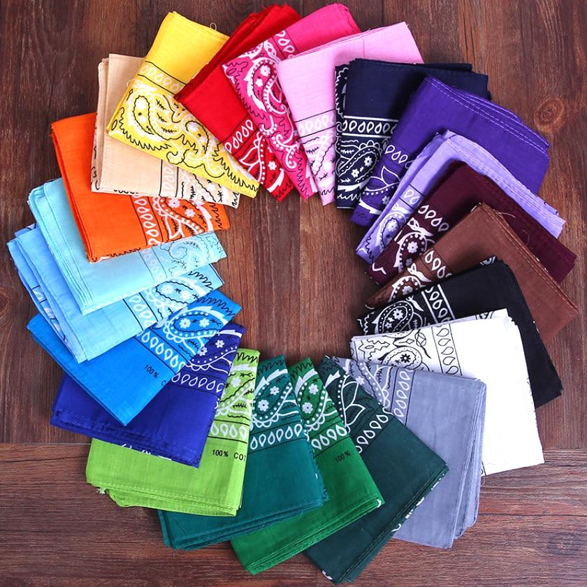 2021 Headband Unisex Fashion Cotton Bandana Square Scarf for Women Men Headband Headwear Double Side
