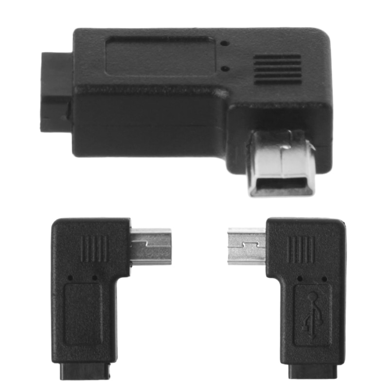 USB 2,0 Micro 5Pin hembra a Mini 5Pin macho 90 ° ángulo izquierda derecha convertidor adaptador