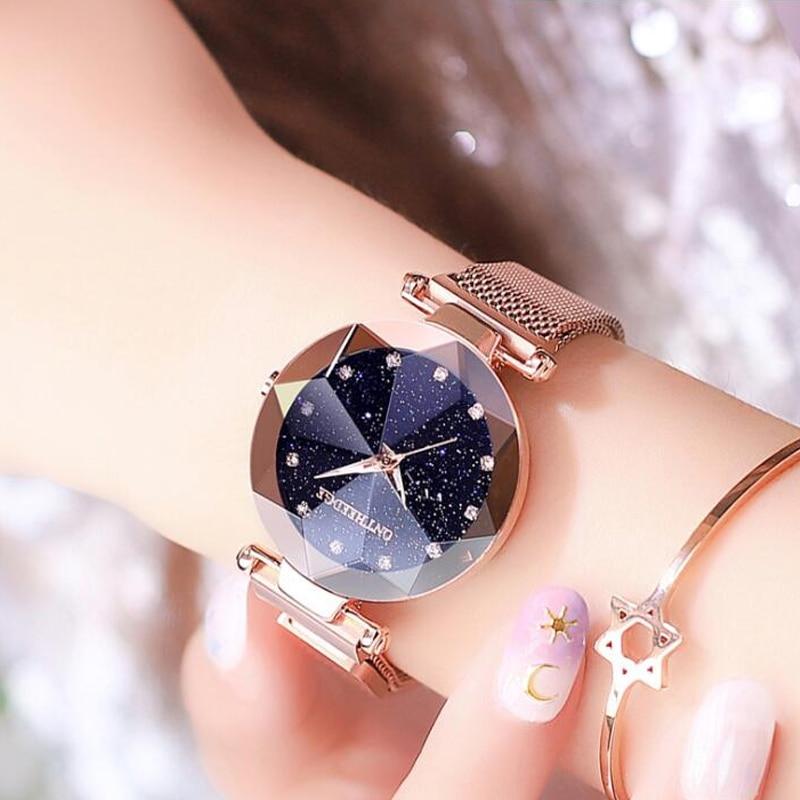 Watch for Women Luxury Cutting Craft Starry Female Watch Fashion Trend Waterproof Magnet Buckle Casual Relogio Feminino Relojes enlarge