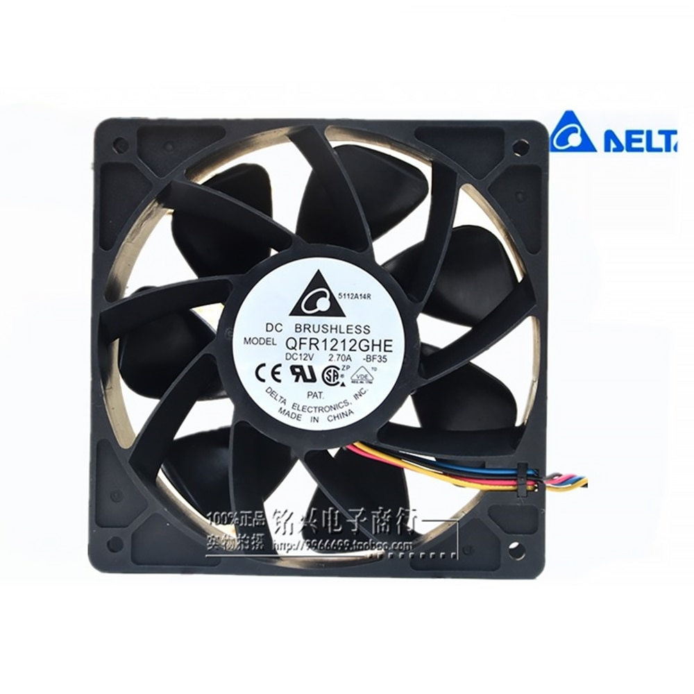 for delta QFR1212GHE QFR1212GHE-PWM 4P 12V 2.7A 12038 Server cooling fan 74Y5220 120*120*38mm for Bitcoin Miner new nmb original 12038 24v 0 46a 4715kl 05t b40 120 120 38mm cooling fan