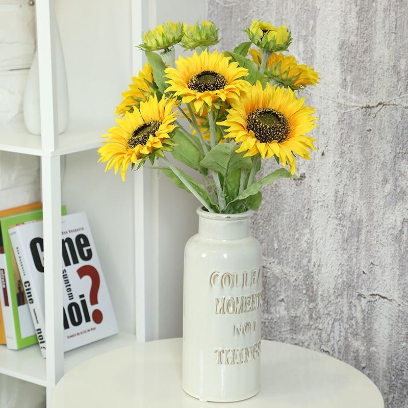 1 Bouquet High quality Artificial yellow sunflowers Europen silk plastic flowers for Home wedding Decoration Party Garden Decor