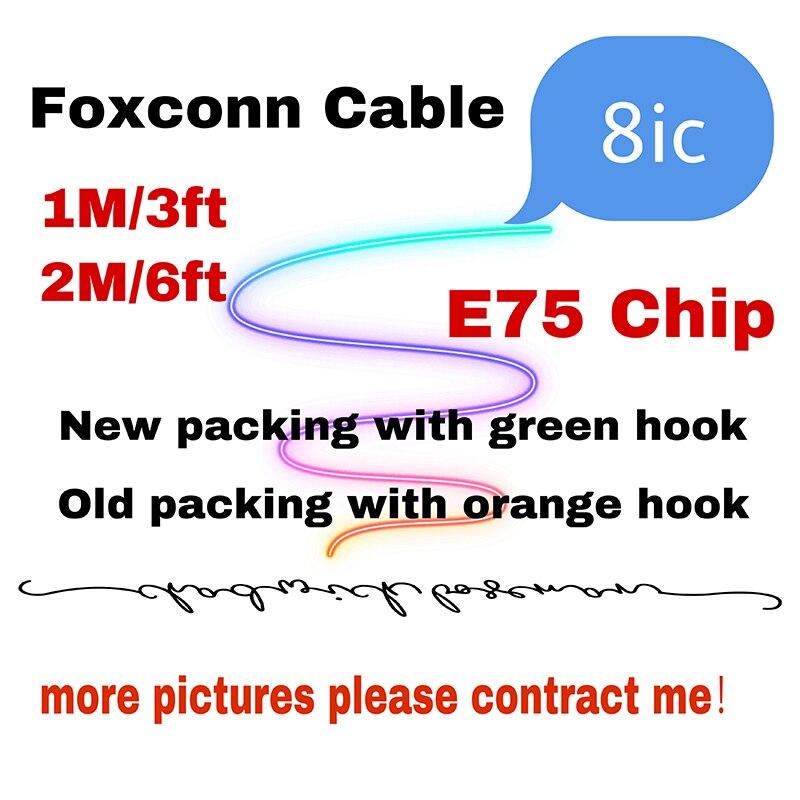 10 قطعة/الوحدة عالية الجودة 1 متر/3 قدم 2 متر/6ft 8ic E75 رقاقة بيانات USB شحن كابل ل Foxconn X XS ماكس 8 7 6 مع التعبئة والتغليف الجديدة