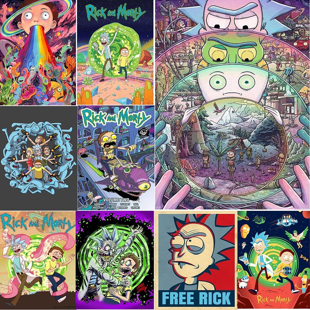 Decoración del hogar impresión HD lienzo Rick y Morty pintura Jerry Smith póster Modular imágenes modernas nórdicas Anime sala de estar pared arte