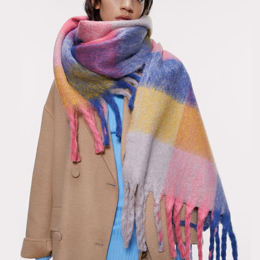 Alta qualidade cashmere mulheres scarfs xadrez grosso quente macio inverno pashmina xales feminino za marca colorido senhoras meninas snood