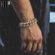 Hip hop bling iced para fora pulseira de rapper masculino strass completa pavimentar cor de ouro miami ligação cubana pulseiras de corrente para jóias masculinas