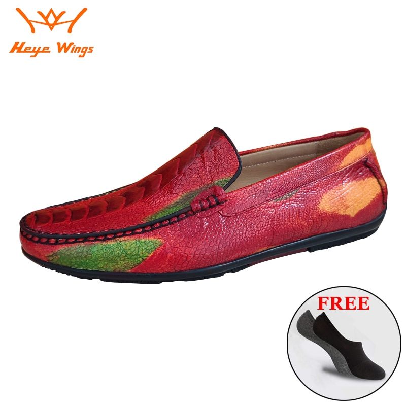 Heye أجنحة ماركة غريبة أحذية جلدية بدون كعب أحذية حقيقية جلد النعامة حذاء رجالي فستان فاخر