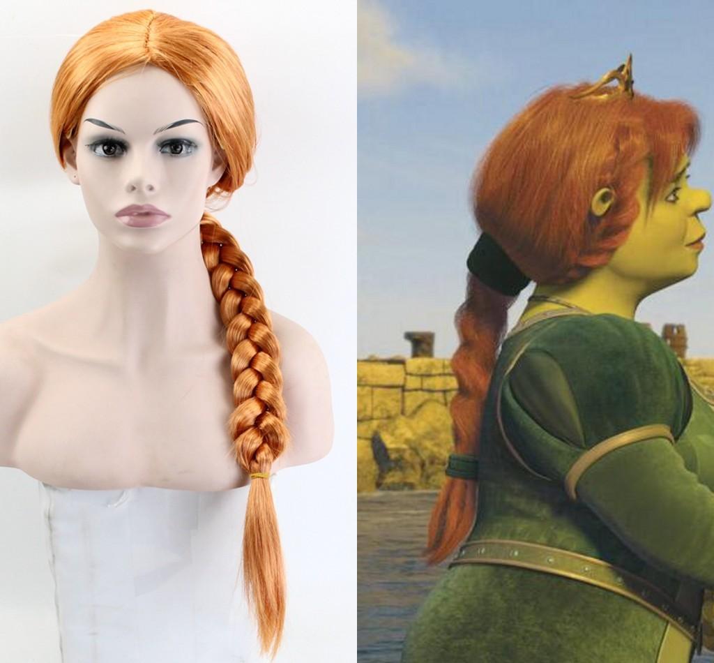 Halloween shrek feminino princesa fiona peruca o monstro finona role play laranja trançado peruca de cabelo trajes