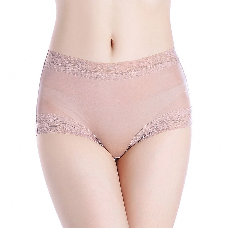 3pcs/lot Natural silk high waist lace Briefs big plus size underwear women transparent seamless woman panties bragas mujer panty