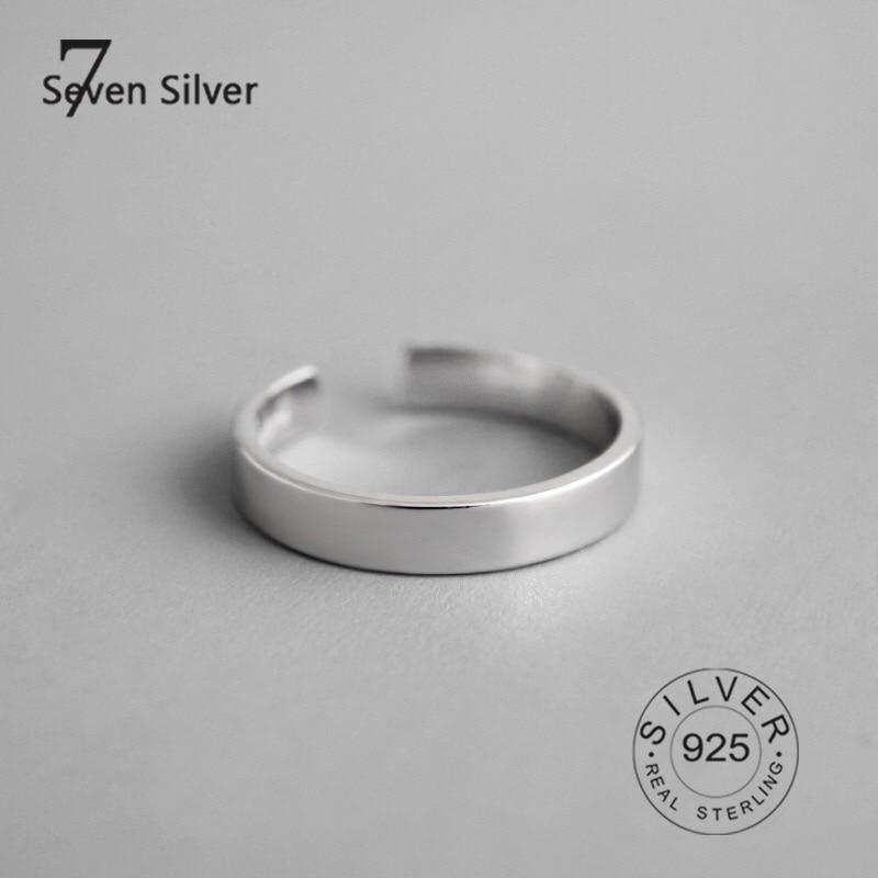 Настоящие женские серебряные кольца-бриллианты, узкие гладкие Модные Изящные ювелирные изделия, большие Регулируемые Антикварные кольца, ...