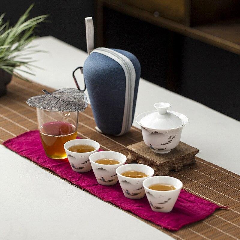 Travel Bag Chinese Kung Fu Tea set gaiwan teapot teacups fair mug tea sets travel tea set drinkware Fast shipping