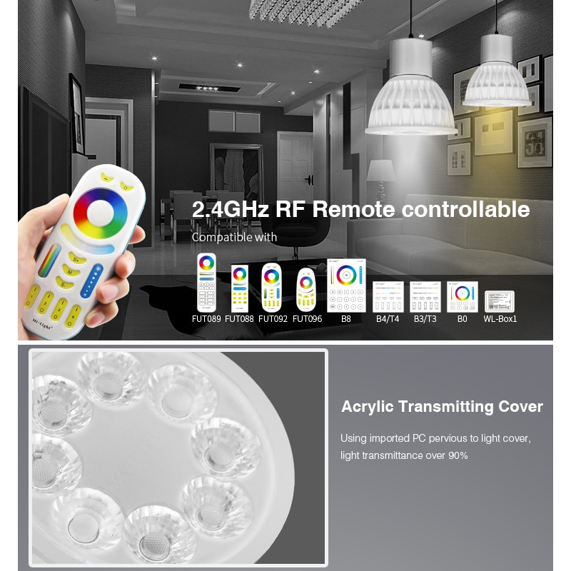 10 pieces Miboxer FUT103 FUT104 GU10 MR16 4W RGB+CCT LED Spotlight 12V 110V 220V Indoor Lamp 2.4G RF Remote/APP Control enlarge