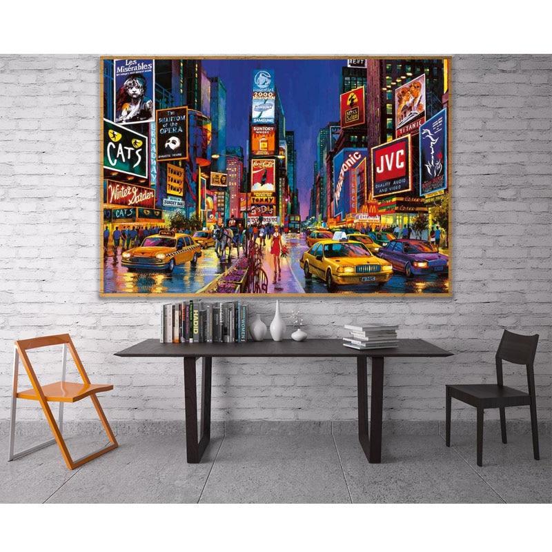 Diy 5D New York Time Square Street pintura de diamante completo punto de cruz kits de arte pintura 3D escénica por diamantes