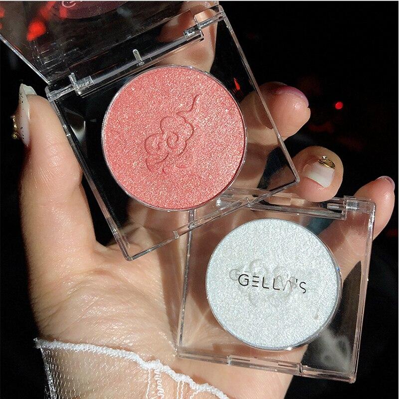 4 colors pocket diamond flash highlight soft glutinous mashed potato texture highlight white Powder eye shadow face makeup