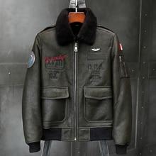 2019 nouveau hommes vert veste en peau de mouton veste en cuir manteau de fourrure B6 Airforce vol veste hommes manteaux dhiver