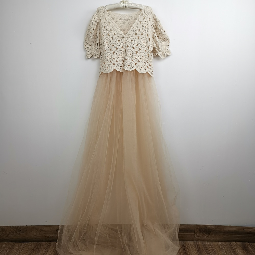 Don&Judy Boho Sexy See Through Tulle Maternity Dress For Pregnant Women Ruffle Sleeve Retro Beige Maxi Gown Photo Shoot Vestidos enlarge