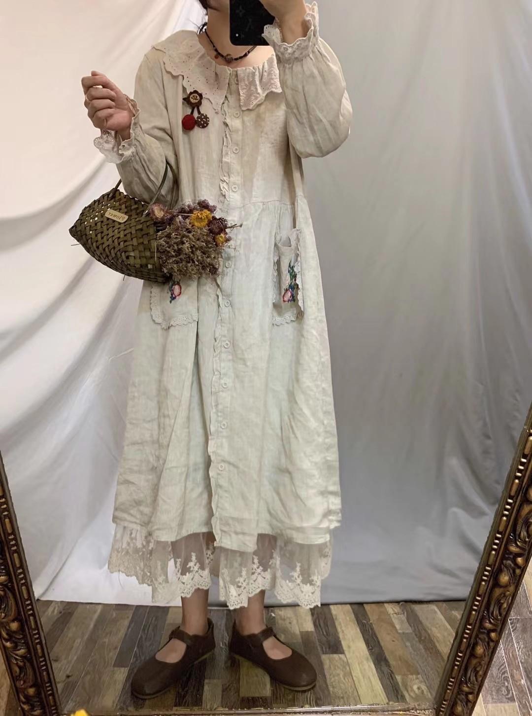 Mori المرأة الحلو التطريز فستان جيوب مزدوجة فضفاضة واحدة الصدر الأميرة فستان من الكتان عادية