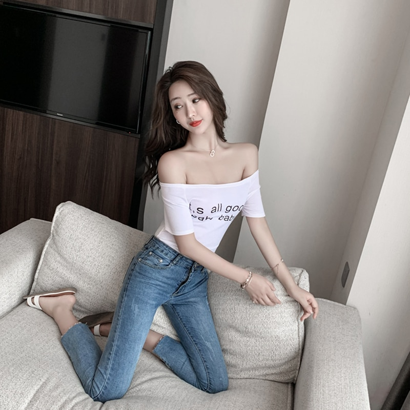 off-Shoulder Printed Short-Sleeved T-shirt Slim Fit Slimming 2021 Summer New Night Club Sexy Women's
