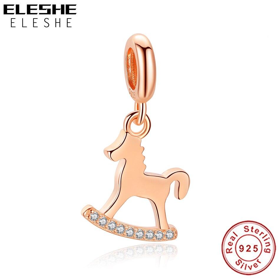 ELESHE invierno nueva plata de ley 925 carrusel colgante encanto de oro rosa CZ Beads Fit Original collar de la pulsera de las mujeres de la joyería de DIY