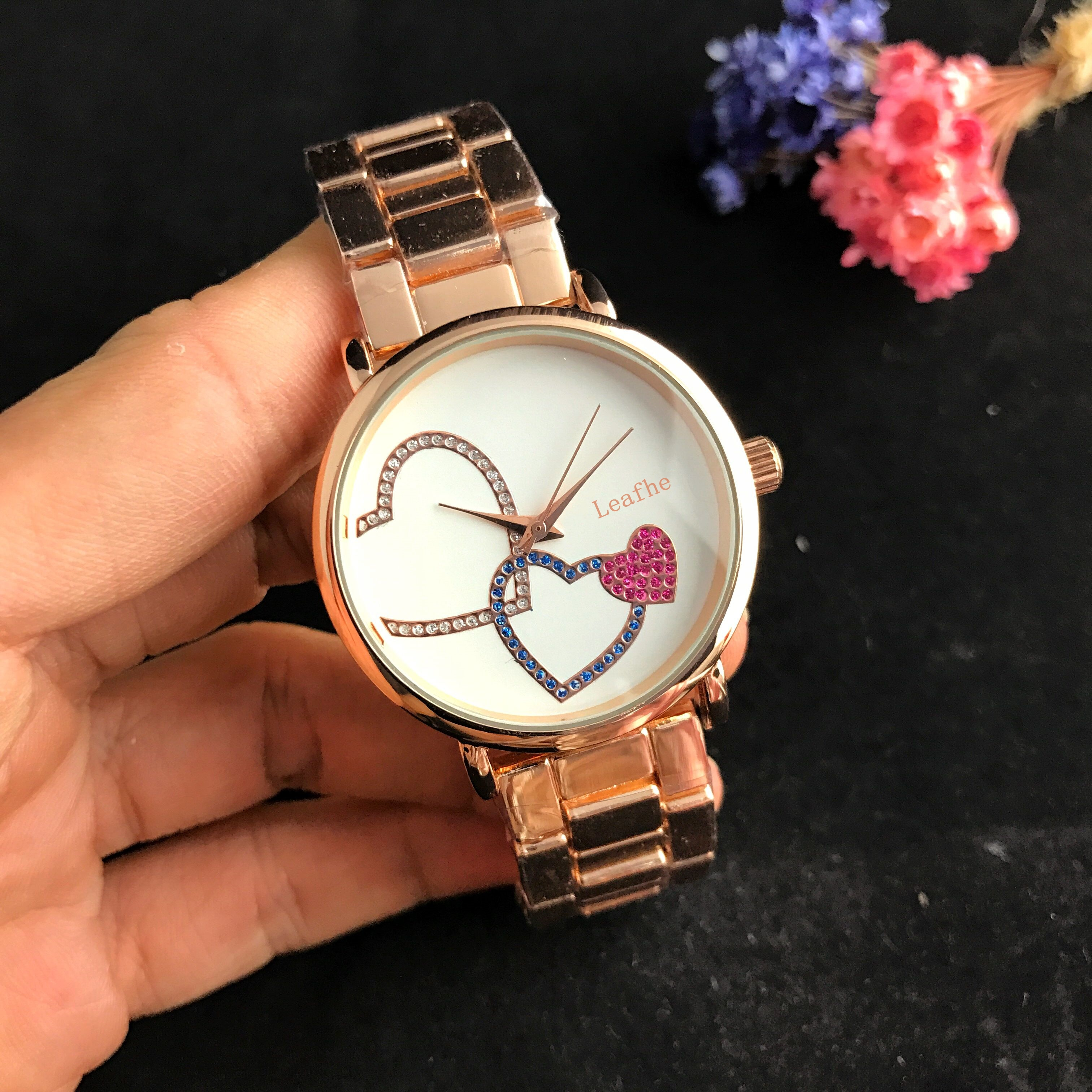 Fashion Brand Women's Watch Love Printing Quartz Watches Gold And Silver Rose Stainless Steel Strap Butterfly Buckle Relogio