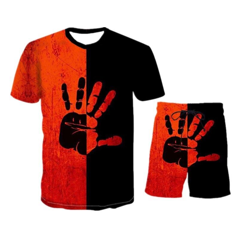 Summer Men's T-shirt Set Best-selling Products New Men's Short-sleeved T-shirt Sports Suit Clothes Men's Leisure Sports Suit