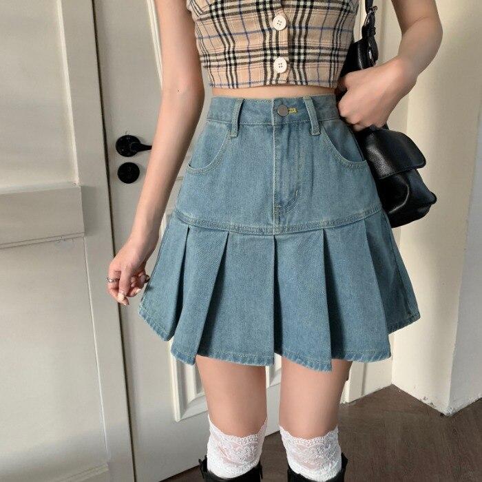 Летние женские джинсовые юбки с высокой талией, плиссированные юбки в стиле Харадзюку, трапециевидные мини-юбки на молнии, облегающие ретро...