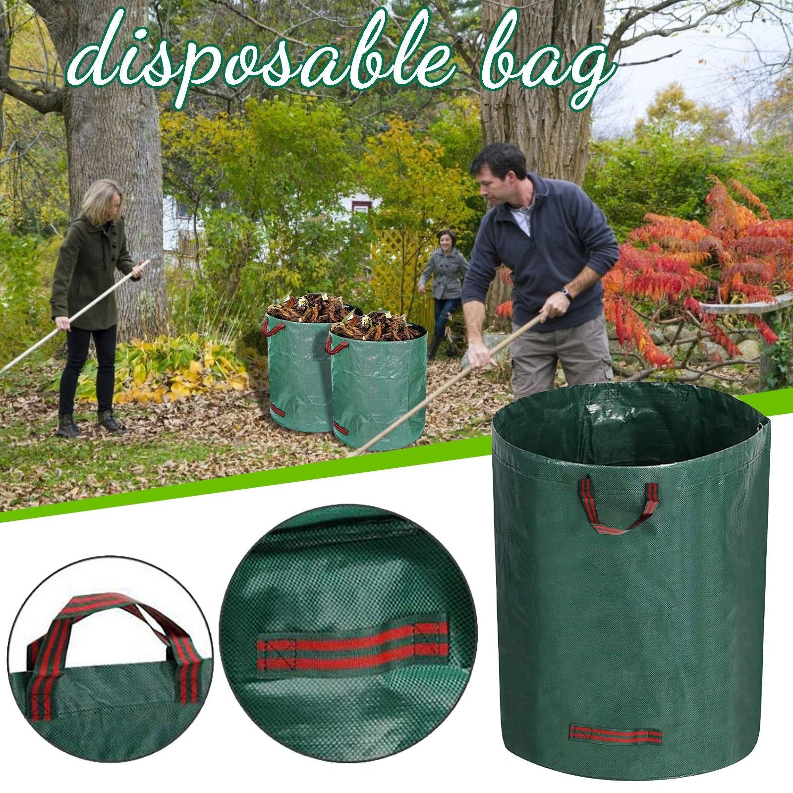 120l/300l Large Capacity Heavy Duty Garden Waste Bag Garden Rubble Waste Woven Rubbish Bags Yard Waste Bins Storage#g3