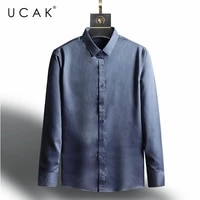 ucak brand fashion shirt men clothes spring new tops business casual solid color turn down collar long sleeves shirt homme u6136