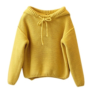 Toddler Girls Knit Hooded Sweater Solid Knitted Crochet Tops Baby Girl Winter Warm Long Sleeve Fashion Children Clothes 2-7T A20