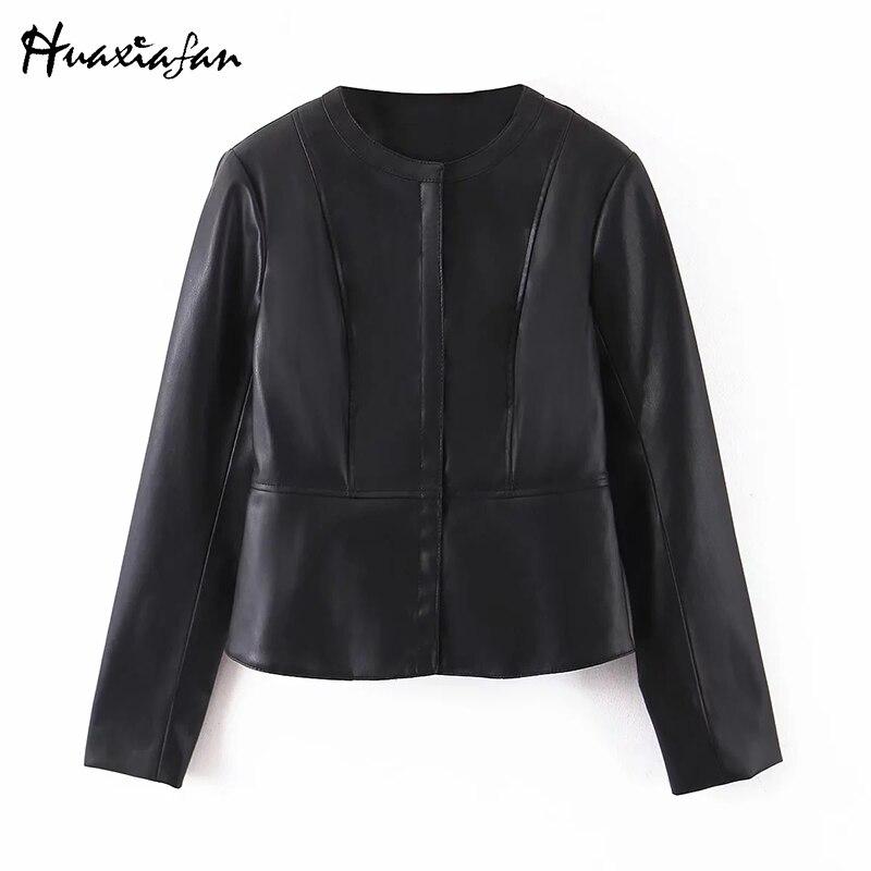 Huaxiafan 2020 chaqueta de primavera para mujeres nuevos productos estilo occidental moda Slim Fit Faux cuero adelgazante Tops cortos chaquetas Casuales