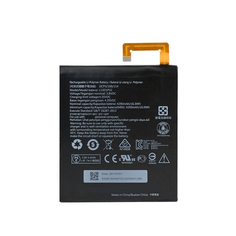Original 4290mAh L13D1P32 Replacement Battery For Lenovo Lepad A8-50 A5500 Tab S8-50 Tab 3 8 inch TB3-850F TB3-850M Mobile Phone enlarge