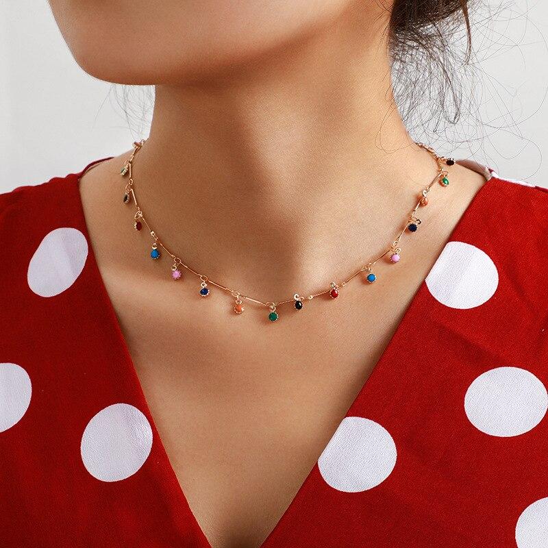 Boêmio adorável colorido pedra corrente colar para mulher ouro único-em camadas corrente chockers festa jóias